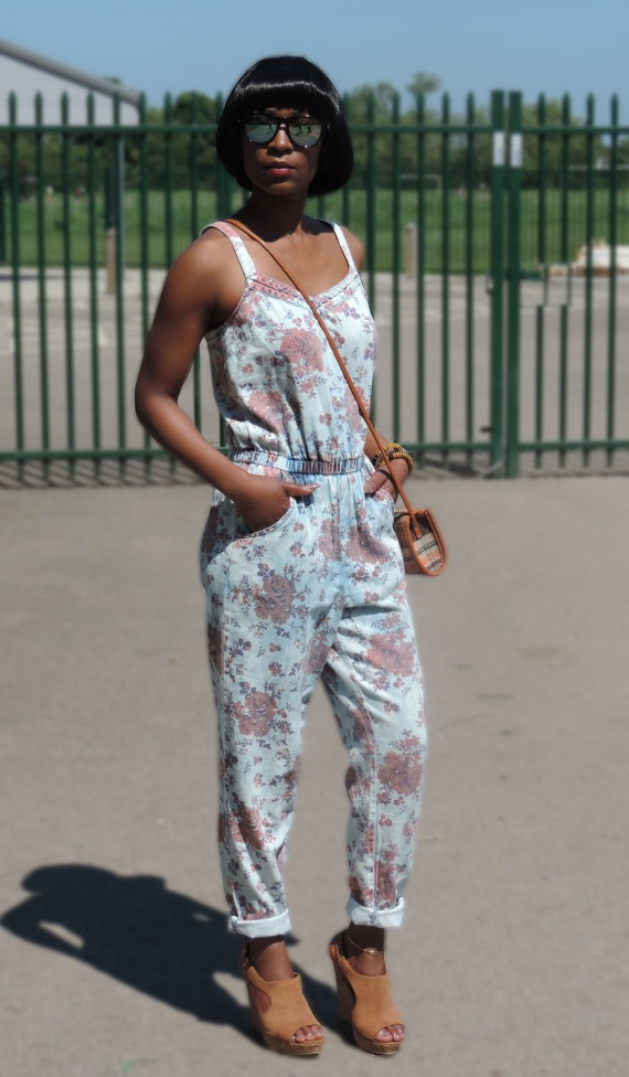 Acid Floral Denim Jumpsuit
